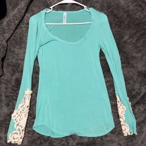 Laced Crotchet Long Sleeved Cuffed Blouse